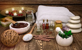 Spa still life with candles and spa products. Royalty Free Stock Photography