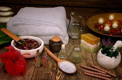 Spa still life with candles and spa products. Horizontal Royalty Free Stock Image