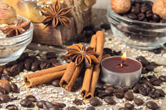 Spa still life with cinnamon and coffee beans. Stock Photography