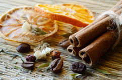 Spa still life - cinnamon,coffee beans,salt,dried orange,lemon Stock Photo