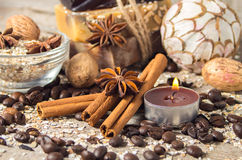 Spa still life with cinnamon and coffee beans.Soft focus. Stock Image