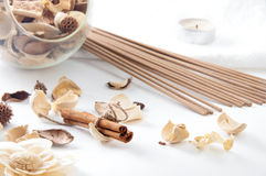 Spa still life with cinnamon, perfume sticks and floral potpourr Royalty Free Stock Images