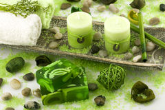 Spa  setting with  soap and candles Stock Photo