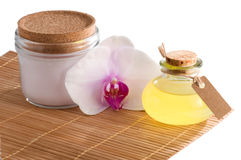 Spa still life with essential oil isolated Royalty Free Stock Photography