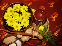 Spa still life with flower on brown background. Stock Images