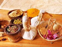 Spa still life  with herbal thai ball. Royalty Free Stock Photography