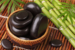 Spa still life with hot stones Stock Image