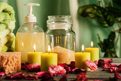 Spa still life with hot stones and candles Stock Photo