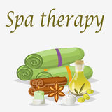 Spa still life icons with water lily and zen stone in serenity pool vector. Spa beauty and body care vector icons bamboo. Spa beauty treatment therapy wellness Royalty Free Stock Image