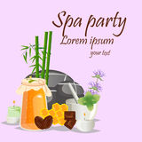 Spa still life icons with water lily and zen stone in serenity pool vector. stock illustration