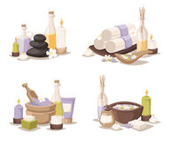 Spa still life icons with water lily and zen stone in serenity pool vector. Spa wellness icons and body spa relaxation icons vector. Spa still life icons with Royalty Free Stock Photos
