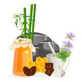 Spa still life icons with water lily and zen stone in serenity pool vector. Royalty Free Stock Photo