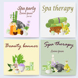 Spa still life icons with water lily and zen stone in serenity pool vector. Stock Photos