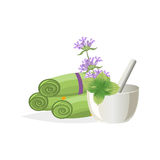 Spa still life icons with water lily and zen stone in serenity pool . Royalty Free Stock Images