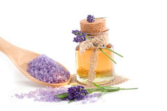 Spa still life with lavender bath salt and essential oil Stock Image
