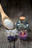 Spa still life with lavender and essential oil Royalty Free Stock Photo