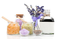Spa still life with lavender flowers and bath salt Royalty Free Stock Images