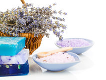 Spa still life with lavender flowers and bath salt Stock Photo