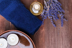 Spa still life with lavender flowers and candles Stock Images