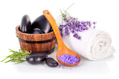 Spa still life with lavender salt Stock Photo