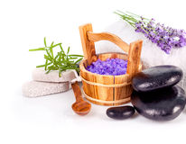 Spa still life with lavender salt. Spa still life with lavender and black stone on white background Stock Photography