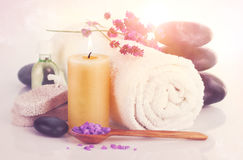 Spa still life with lavender salt Royalty Free Stock Photography