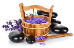 Spa still life with lavender salt Royalty Free Stock Images