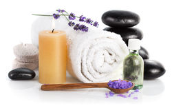 Spa still life with lavender salt. L  on white background Stock Image