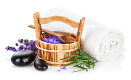 Spa still life with lavender salt Stock Image