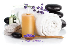 Spa still life with lavender salt Stock Photography