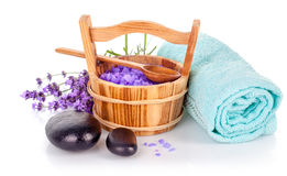 Spa still life with lavender salt. And towel on white background Stock Photos