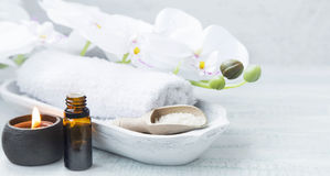 Spa still life with oil and candle Stock Photography