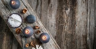 Spa Still Life On Wooden Background, Top View. Stock Images