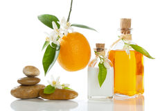 Orange spa. Spa still-life with orange oil, cream ; blossom and fruit  on white Stock Images