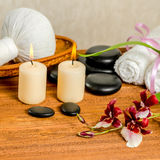 Spa still life of orchid flower, Cambria, thai herbal compress b Stock Images