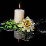 Spa still life of passiflora flower, green leaf fern with drop. And candle on zen stones in reflection water, closeup royalty free stock photography