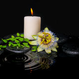 Spa still life of passiflora flower, green leaf fern with drop. And candle on zen stones in ripple reflection water, closeup stock photo