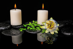 Spa still life of passiflora flower, green leaf fern with drop. And candles on zen stones in reflection water, closeup royalty free stock image