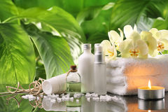 Spa. Still life with perfume bottles,towel and candle Stock Images
