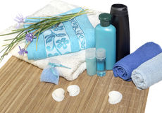 Spa still life. Personal hygiene items, towels on a table close-up Royalty Free Stock Images