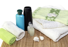 Spa still life. Personal hygiene items, towels on a table close-up Royalty Free Stock Photos