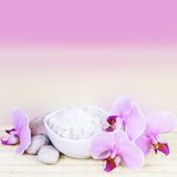 Spa Still Life with Pink Orchids Square Stock Photography