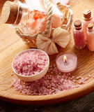 Spa still life with pink sea salt Royalty Free Stock Photos