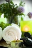 Spa still life, portrait. Warm towels, candles, herbs and zen stones for a spa treatment Stock Photography