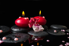 Spa still life of red candles, zen stones with drops, orchid cam Stock Image