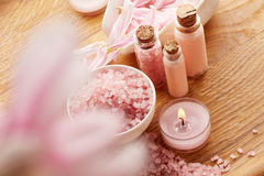 Spa still life with sea salt and flower petals Royalty Free Stock Images