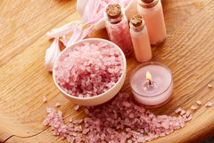Spa still life with sea salt and flower petals Stock Photo