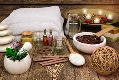 Spa still life with seasalt and spa products. Royalty Free Stock Photography
