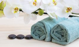 Spa still life with orchid and towels Stock Images