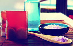 Spa still life with soap, bath salt, cream,towel,candles Royalty Free Stock Images